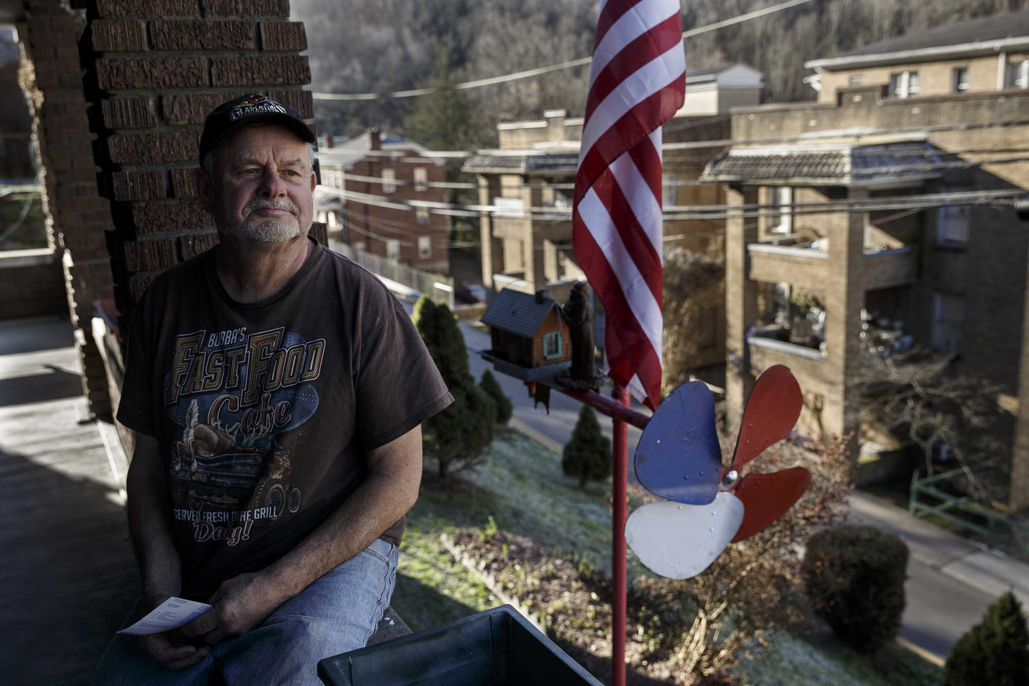 rewriting mcdowell ralph peaks who grew up in welch west virginia talks about poverty in the area on the porch of his home which he bought in 1988